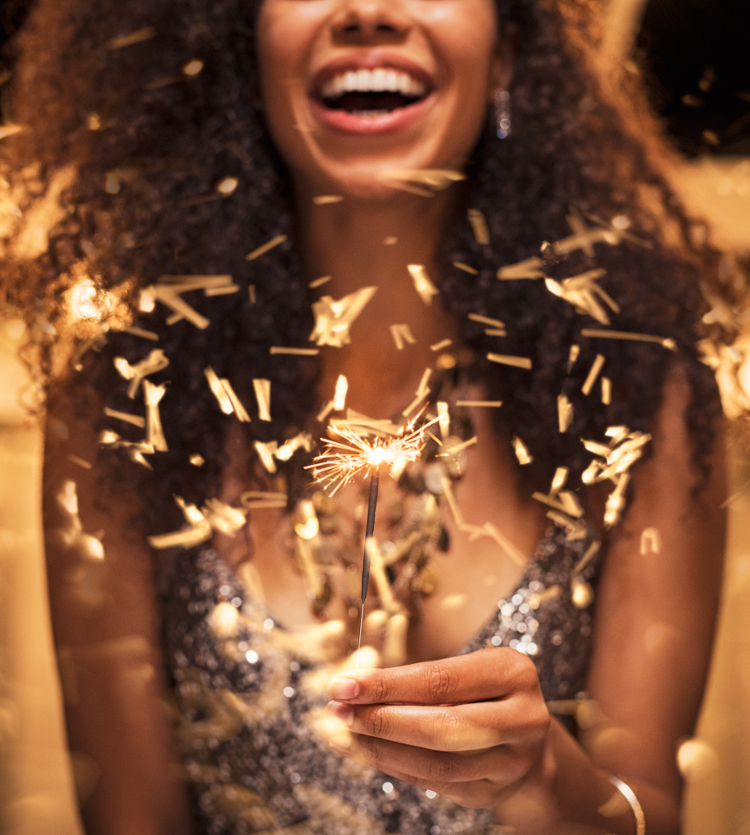 Woman having fun with a sparkler at vienna social events