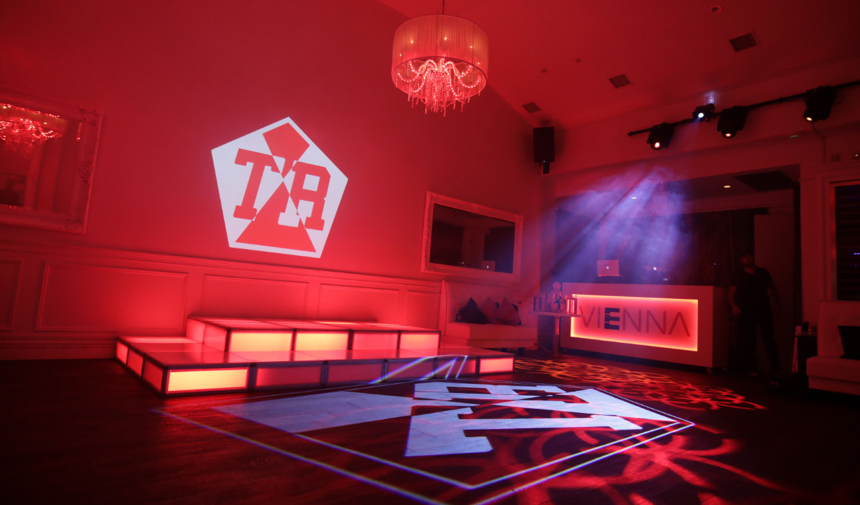 Venue lit up for Bar Mitzvah with Custom Projection